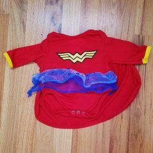 4/25 Wonder Woman Costume 0-6m onesie
